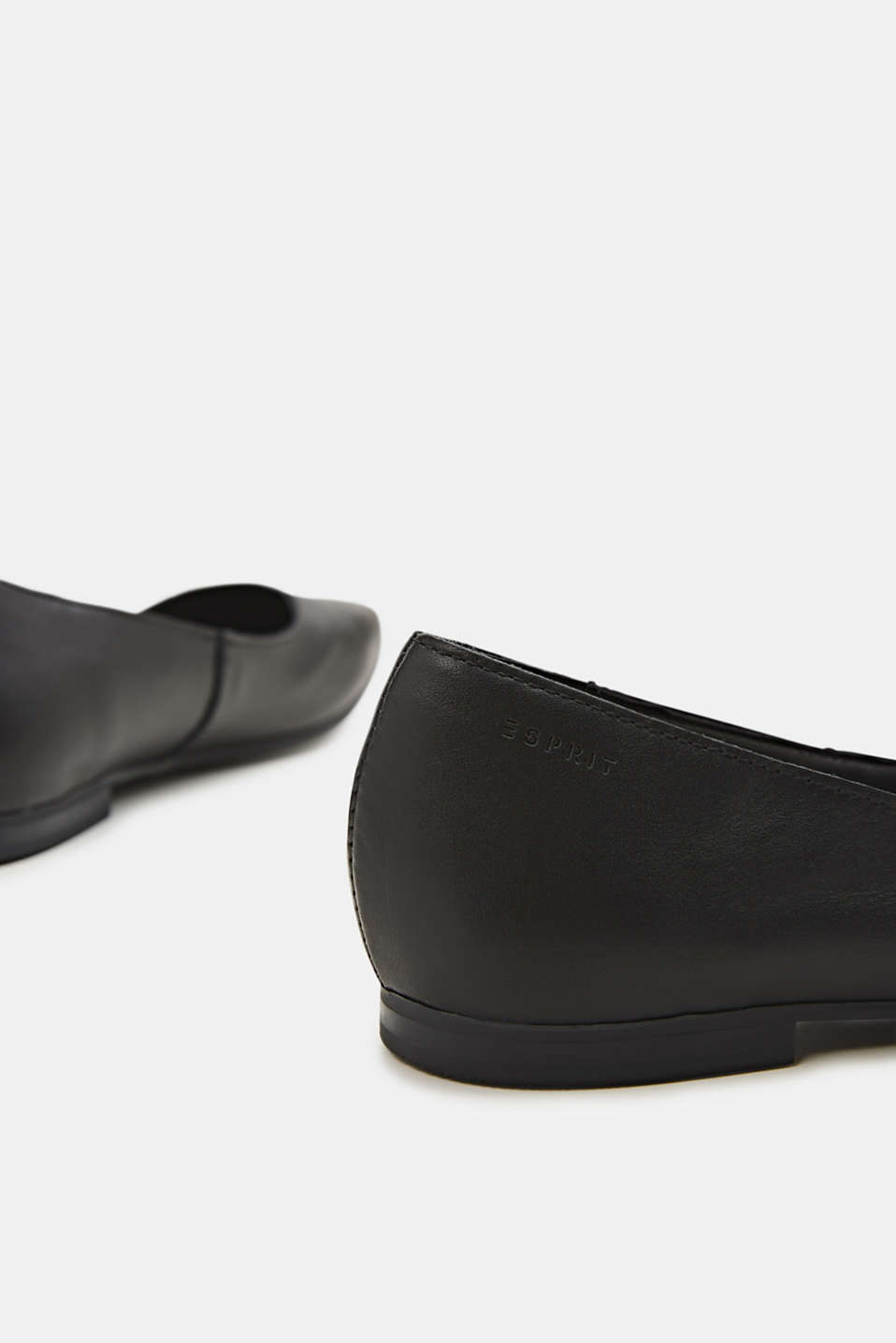 Made of leather: square toe ballerinas, BLACK, detail image number 3