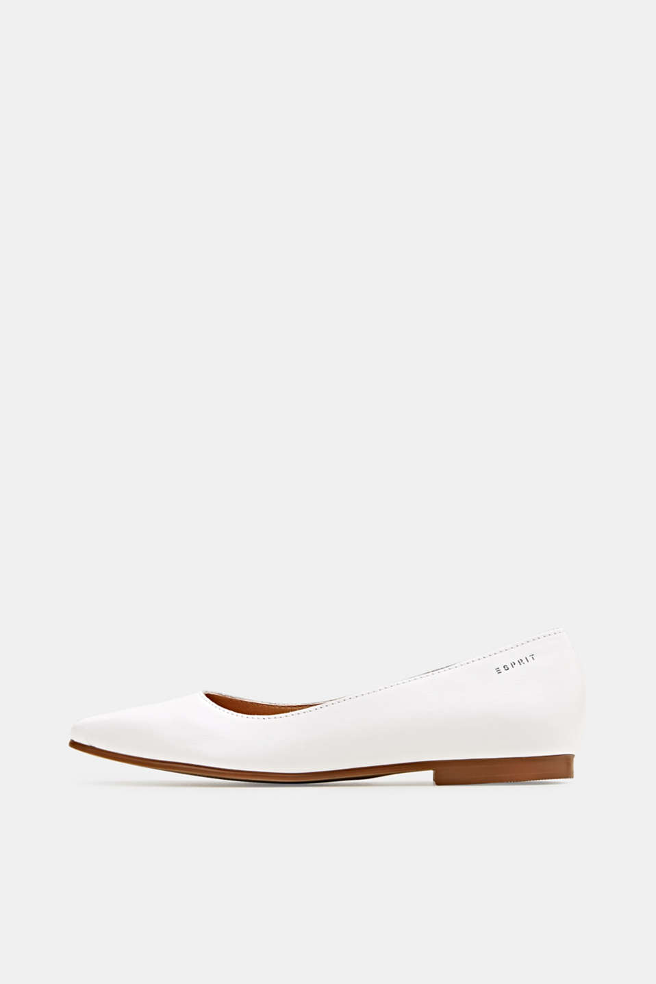 Made of leather: square toe ballerinas, WHITE, detail image number 0