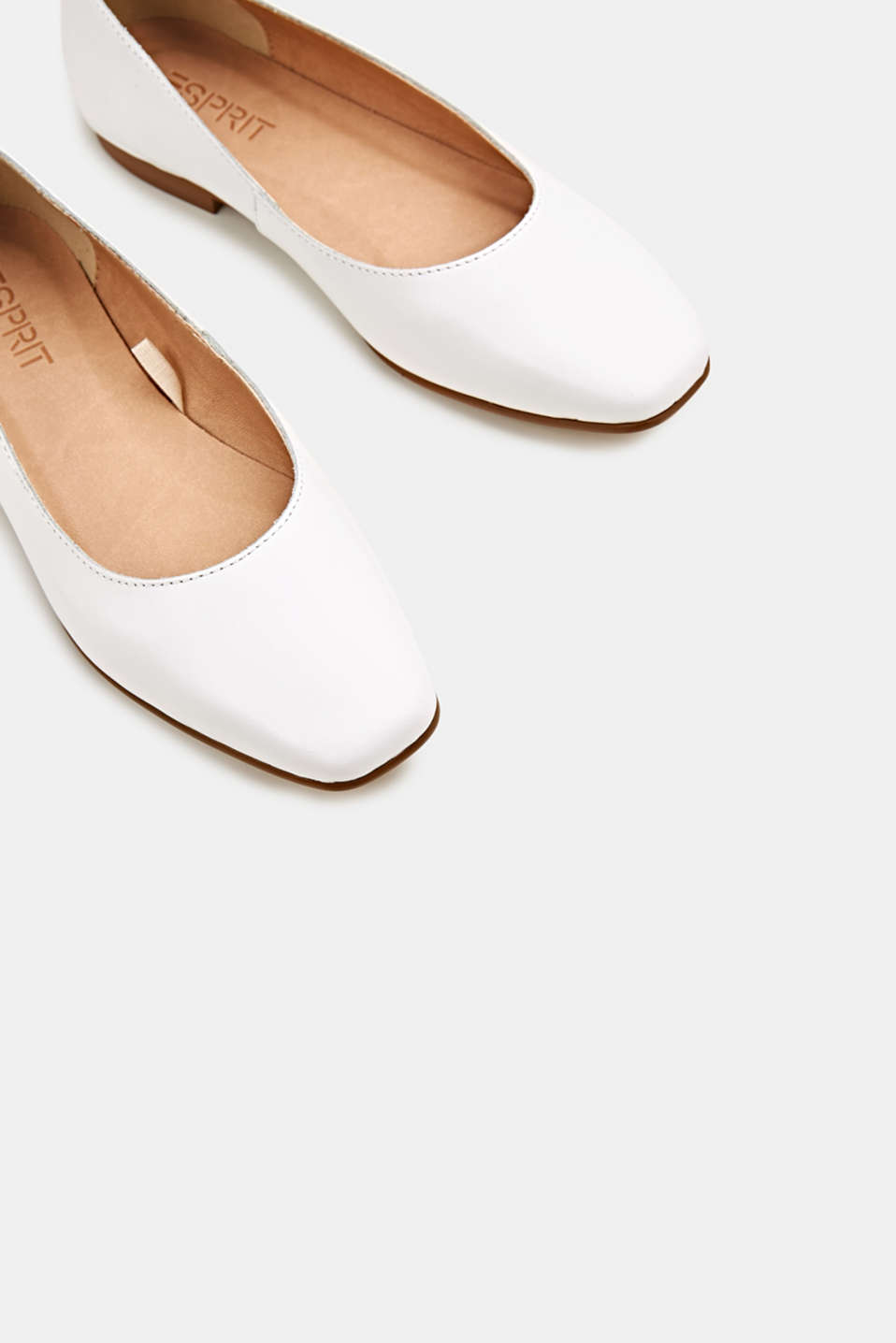 Made of leather: square toe ballerinas, WHITE, detail image number 1