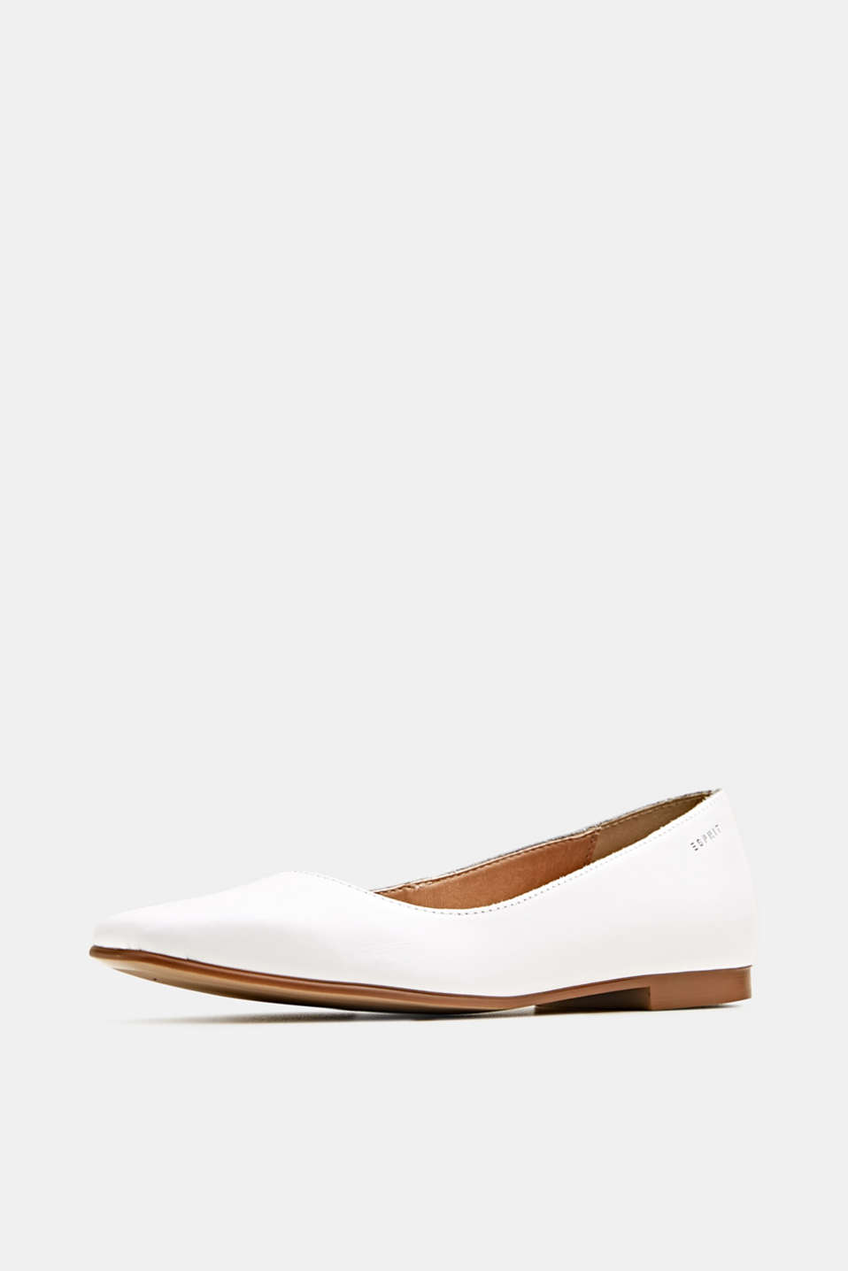 Made of leather: square toe ballerinas, WHITE, detail image number 2