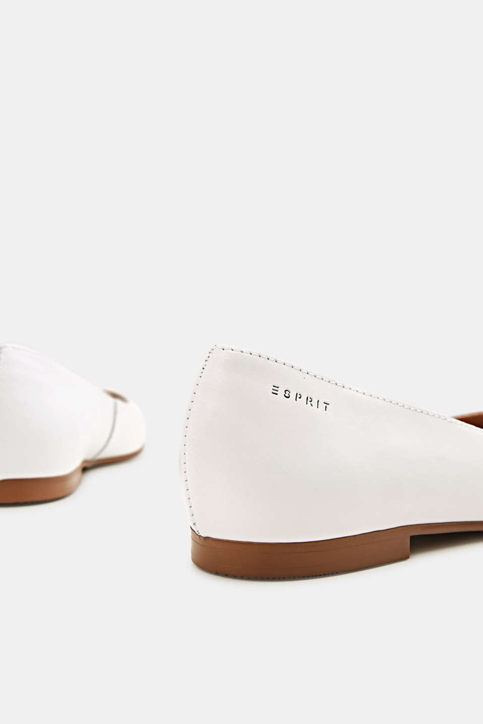 Made of leather: square toe ballerinas, WHITE, detail image number 4