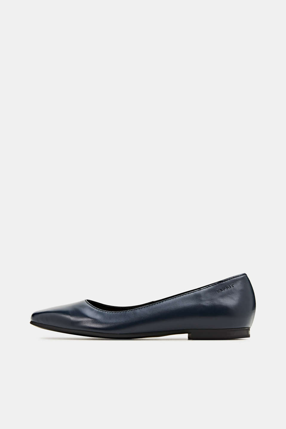 Made of leather: square toe ballerinas, NAVY, detail image number 0