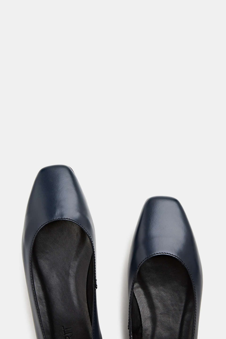 Made of leather: square toe ballerinas, NAVY, detail image number 1