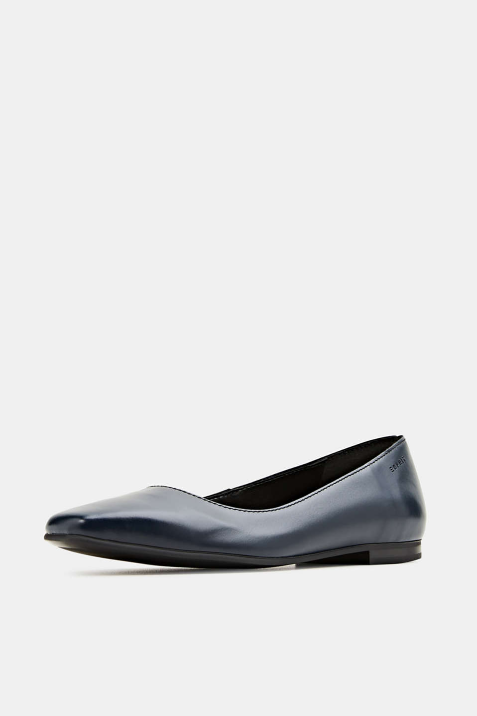 Made of leather: square toe ballerinas, NAVY, detail image number 2