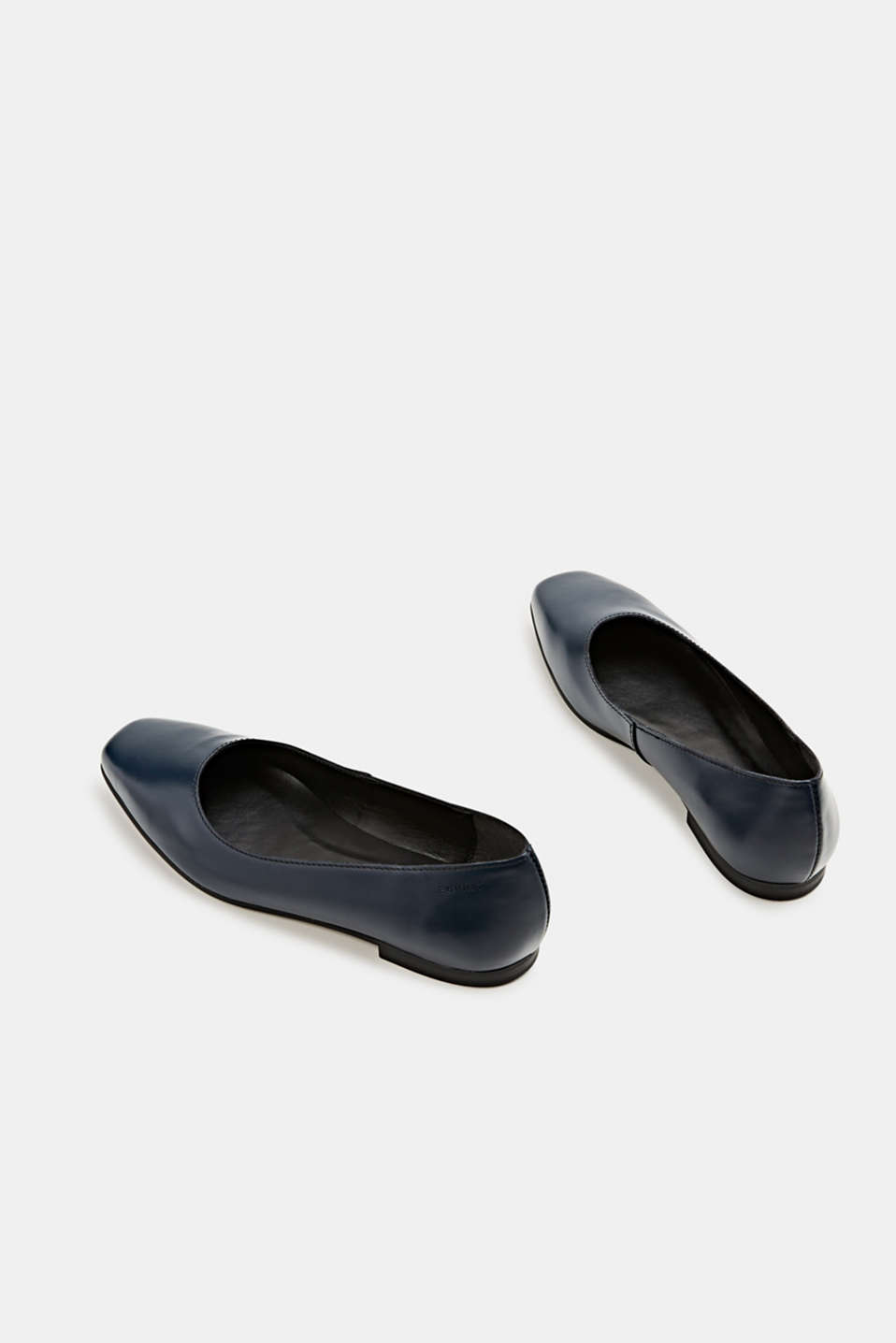 Made of leather: square toe ballerinas, NAVY, detail image number 5