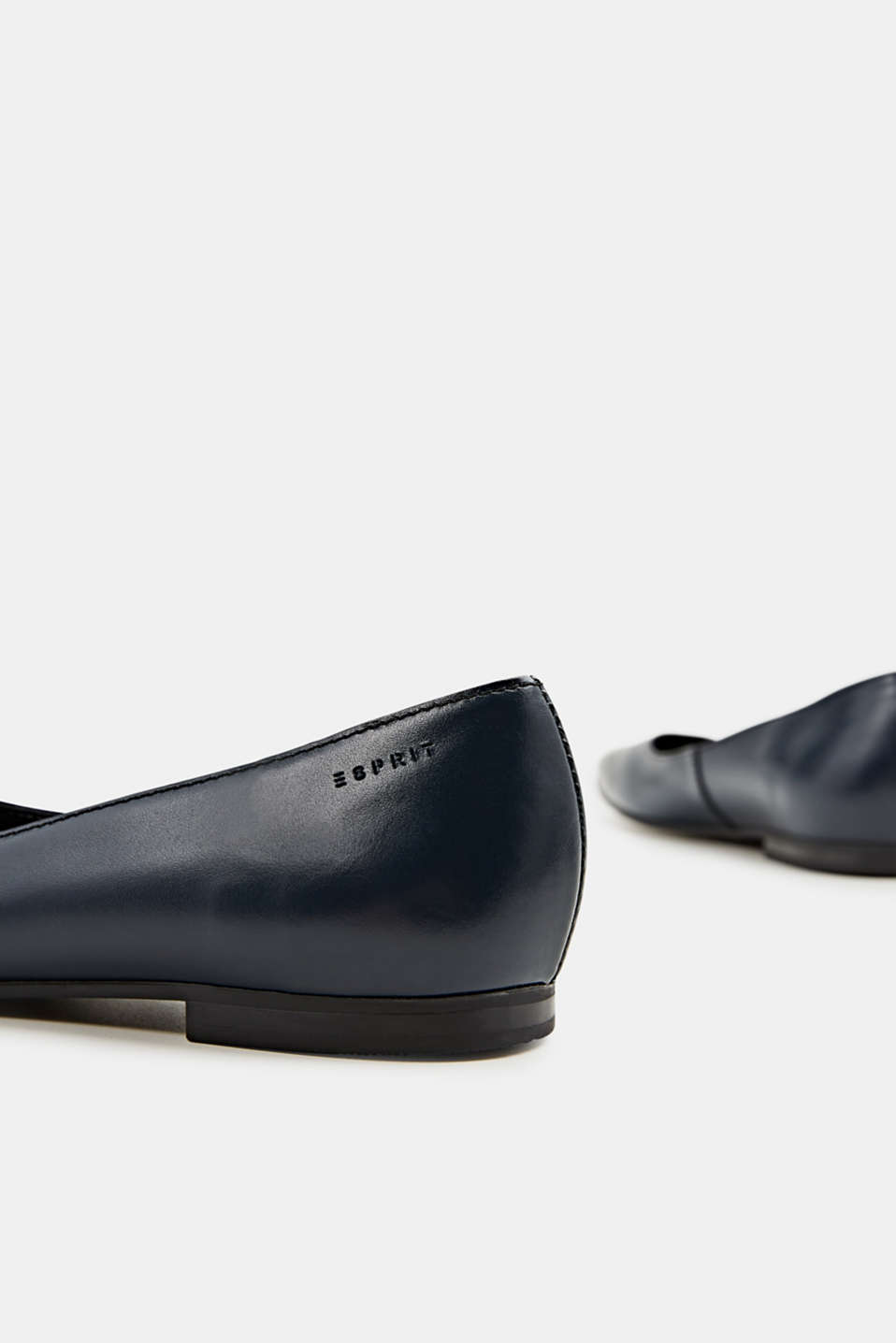 Made of leather: square toe ballerinas, NAVY, detail image number 4
