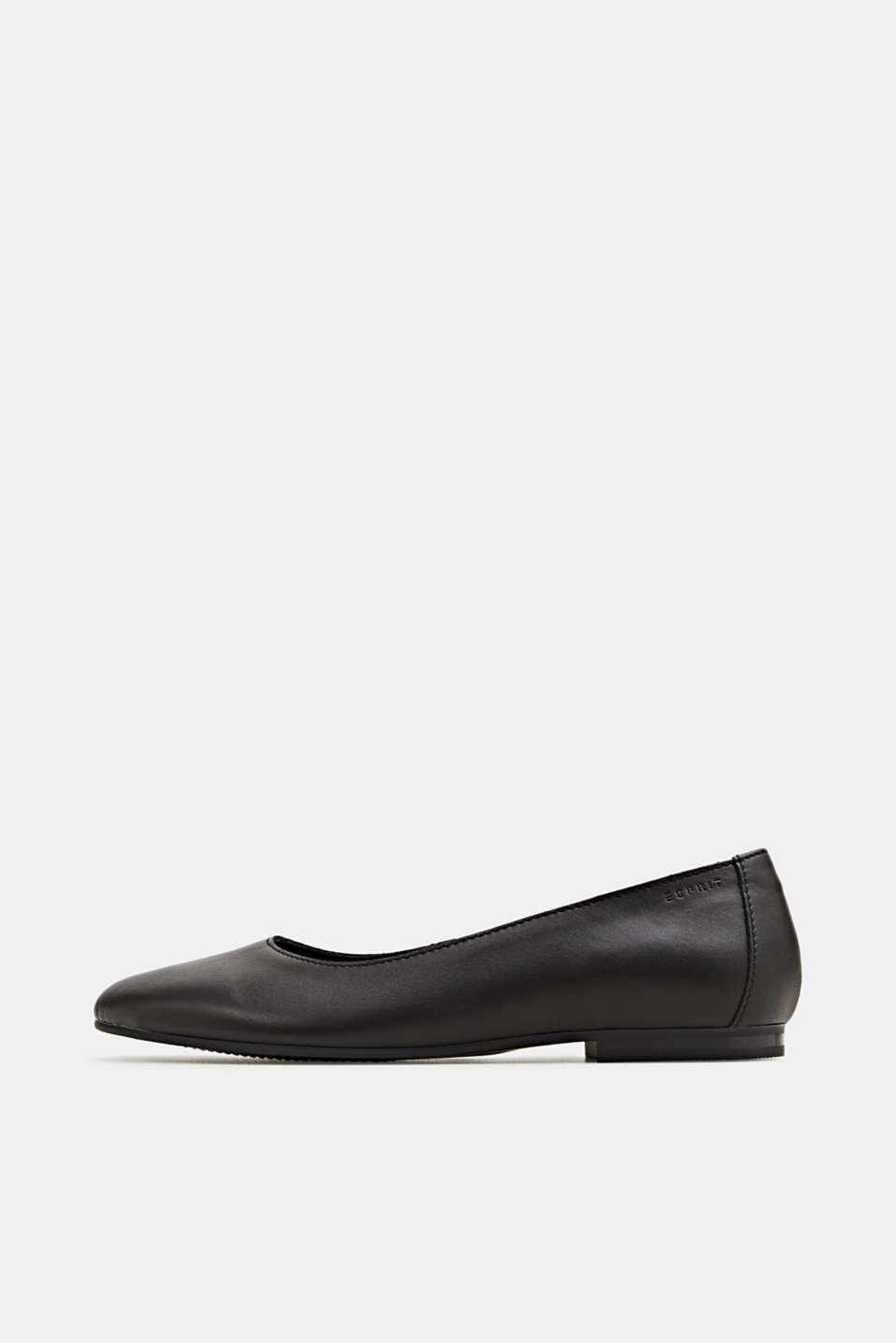 Made of leather: purely styled ballerinas, BLACK, detail image number 0