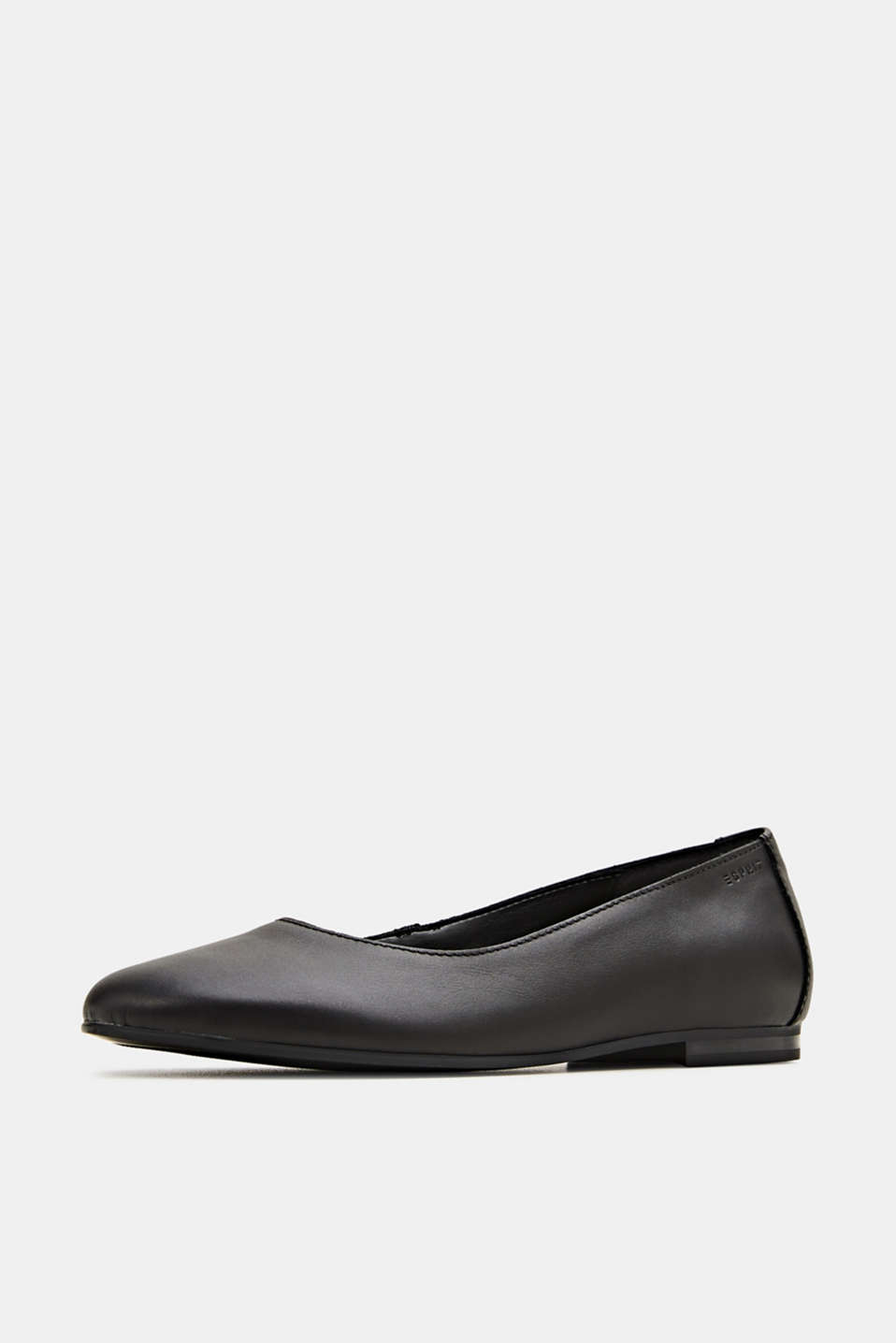 Made of leather: purely styled ballerinas, BLACK, detail image number 2