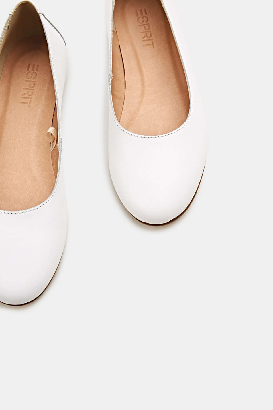 Made of leather: purely styled ballerinas, WHITE, detail image number 1