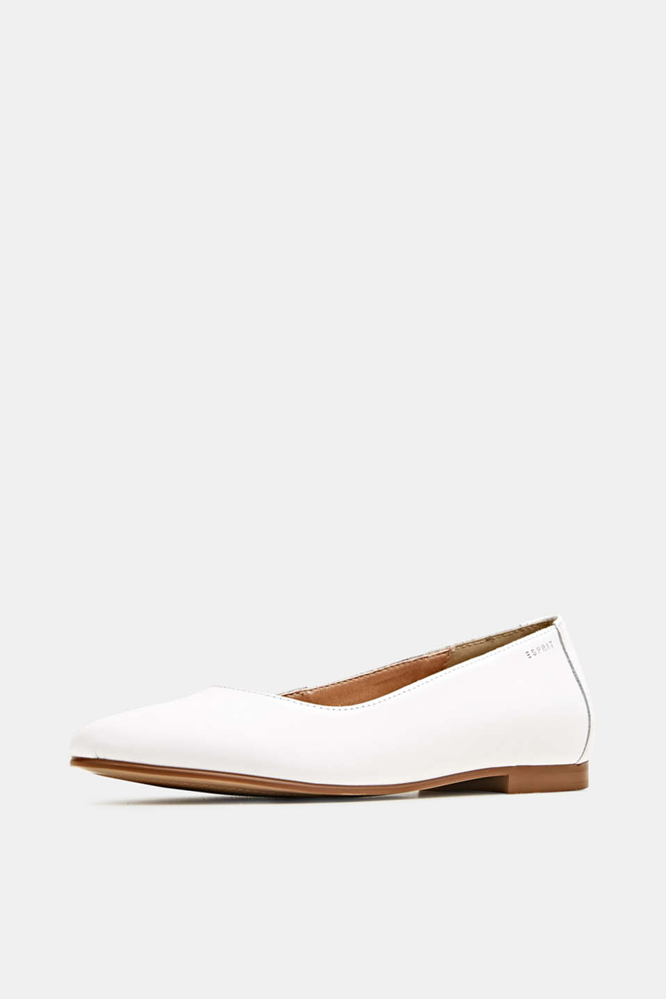 Made of leather: purely styled ballerinas, WHITE, detail image number 2