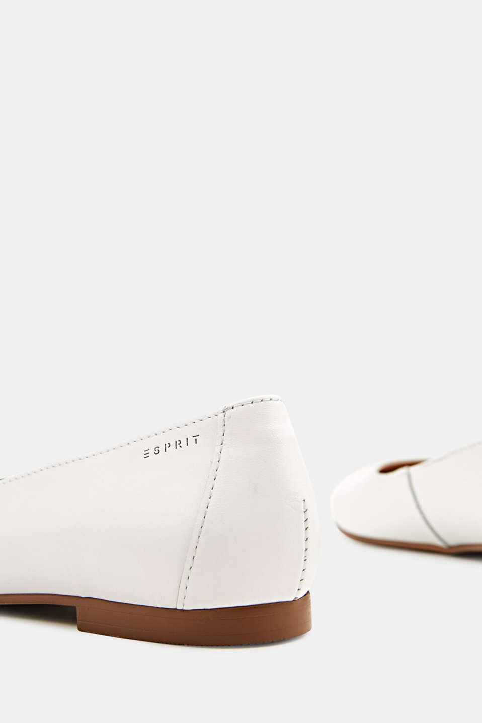 Made of leather: purely styled ballerinas, WHITE, detail image number 4