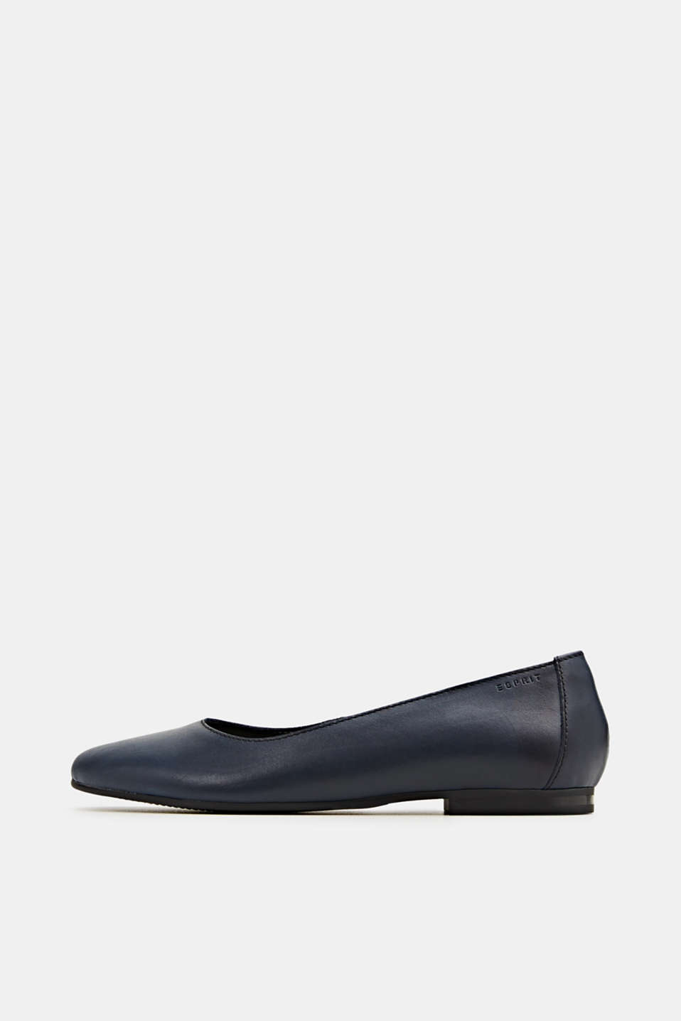 Made of leather: purely styled ballerinas, NAVY, detail image number 0