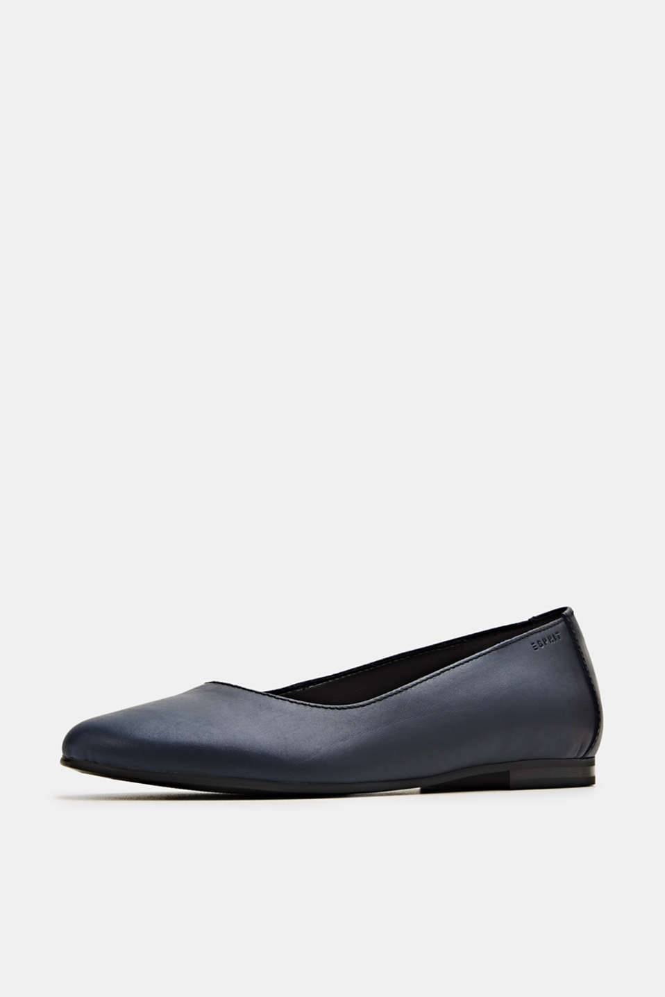 Made of leather: purely styled ballerinas, NAVY, detail image number 1