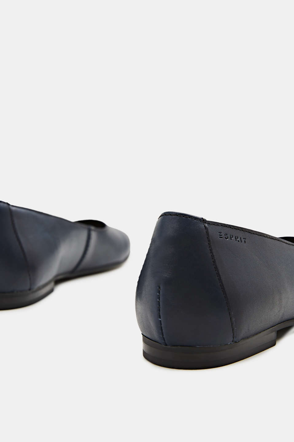 Made of leather: purely styled ballerinas, NAVY, detail image number 4