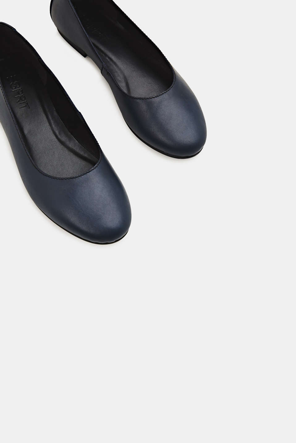 Made of leather: purely styled ballerinas, NAVY, detail image number 3