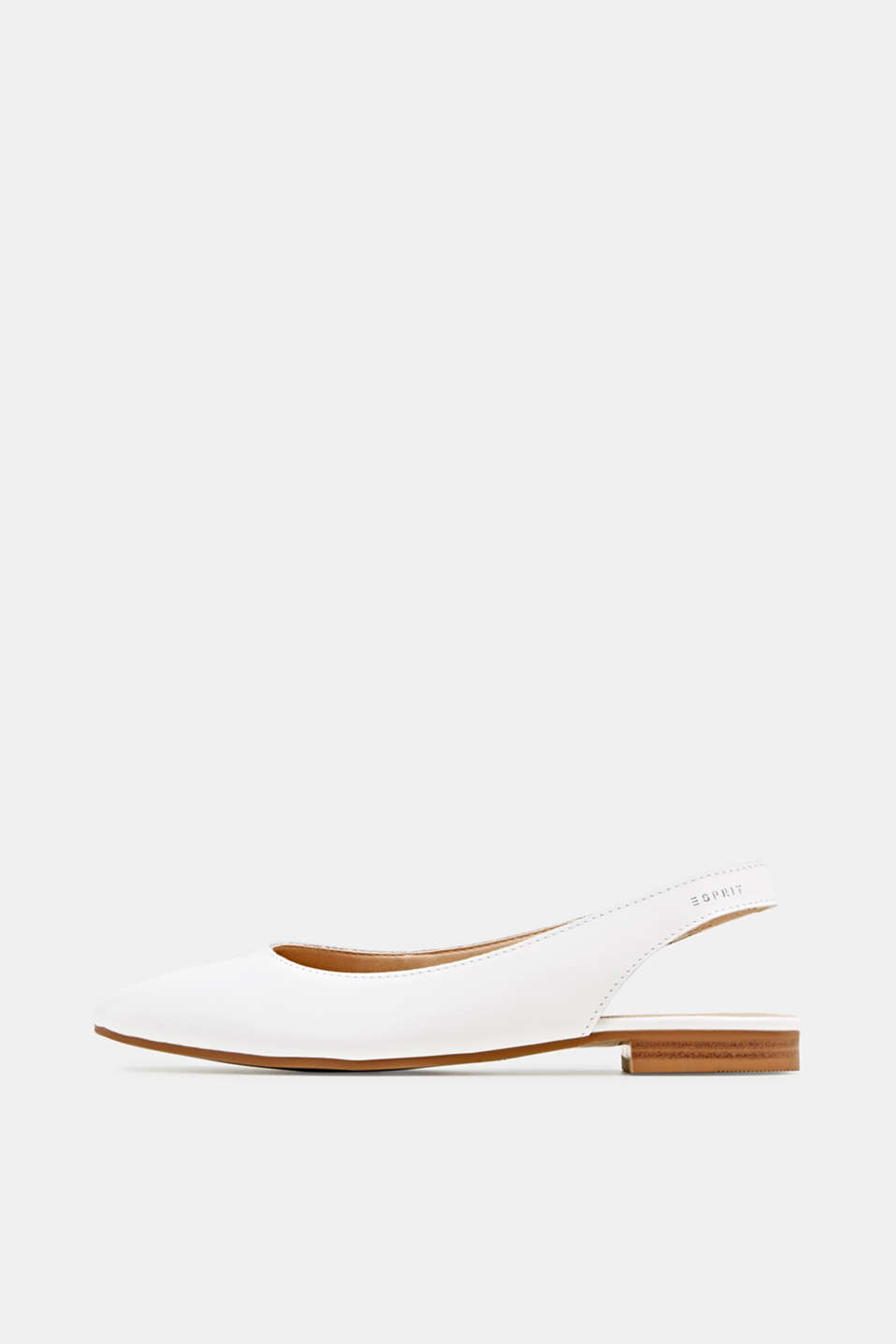 Leather sling back ballerinas, WHITE, detail image number 0