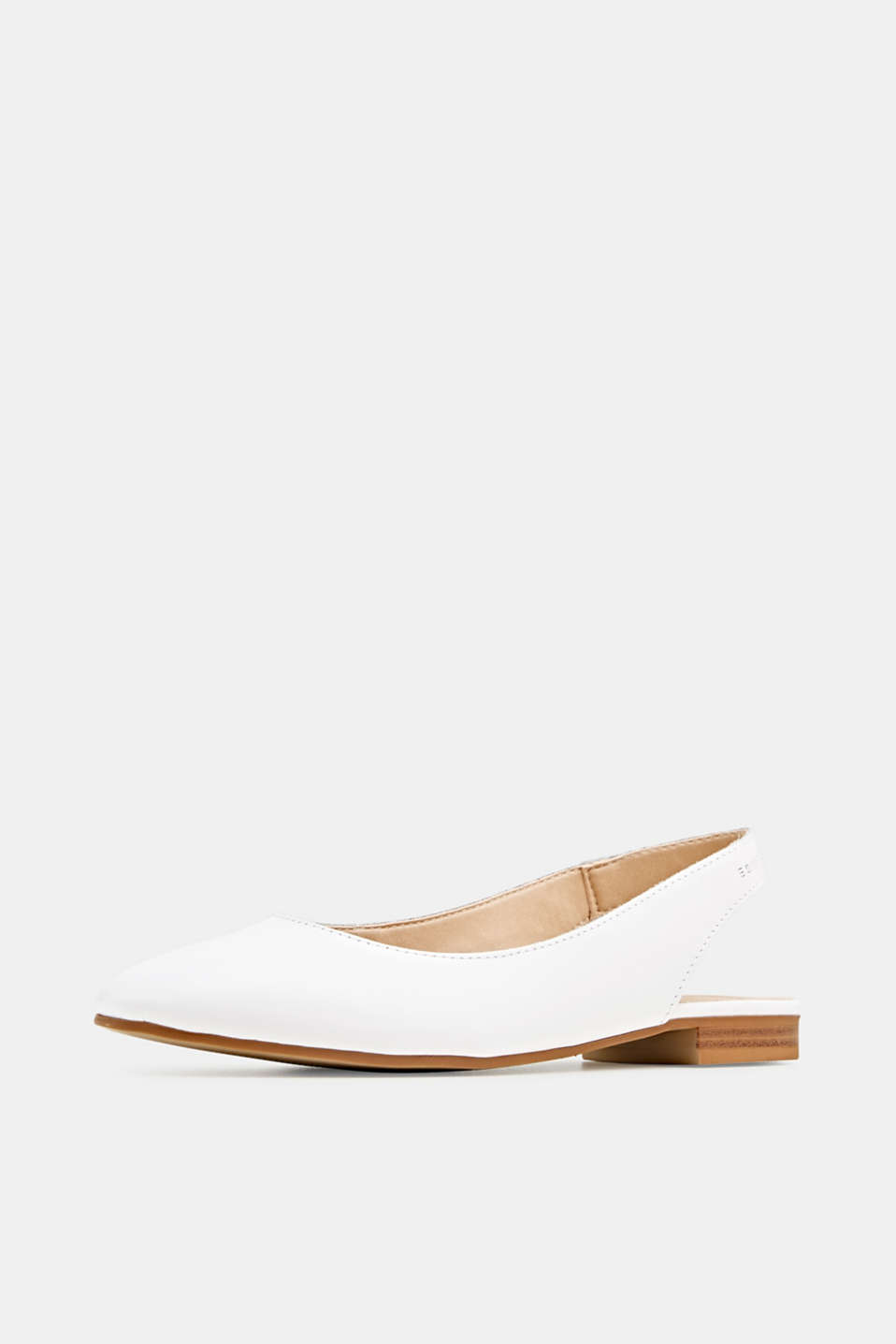 Leather sling back ballerinas, WHITE, detail image number 1