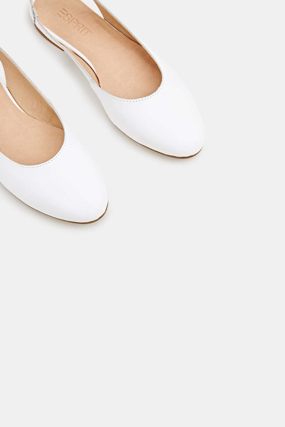 Leather sling back ballerinas, WHITE, detail image number 4
