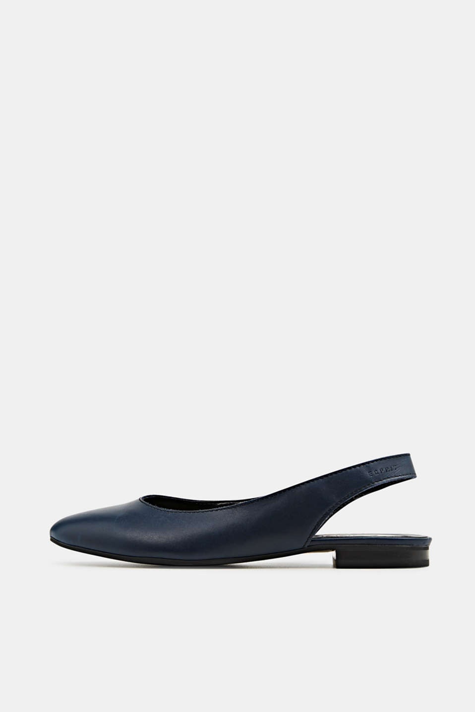 Leather sling back ballerinas, NAVY, detail image number 0