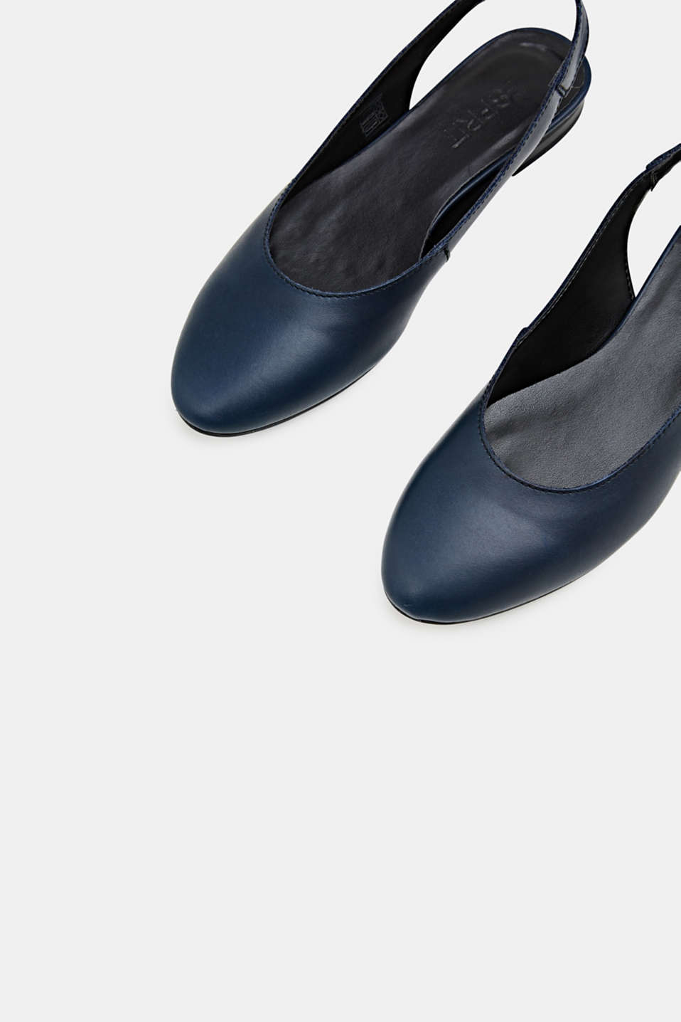 Leather sling back ballerinas, NAVY, detail image number 1