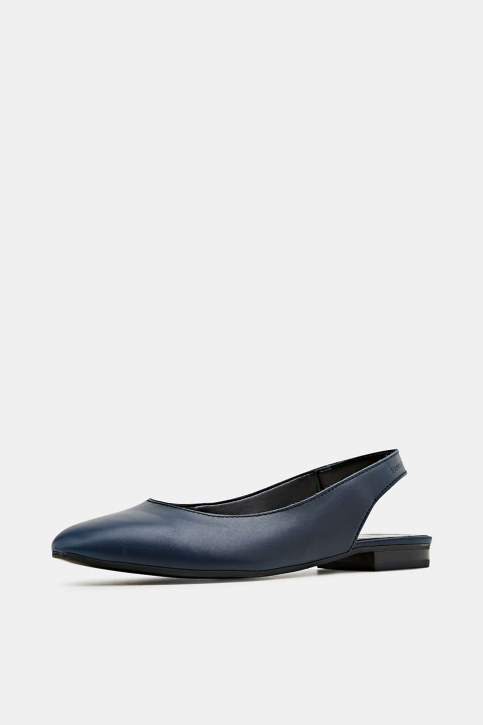 Leather sling back ballerinas, NAVY, detail image number 2