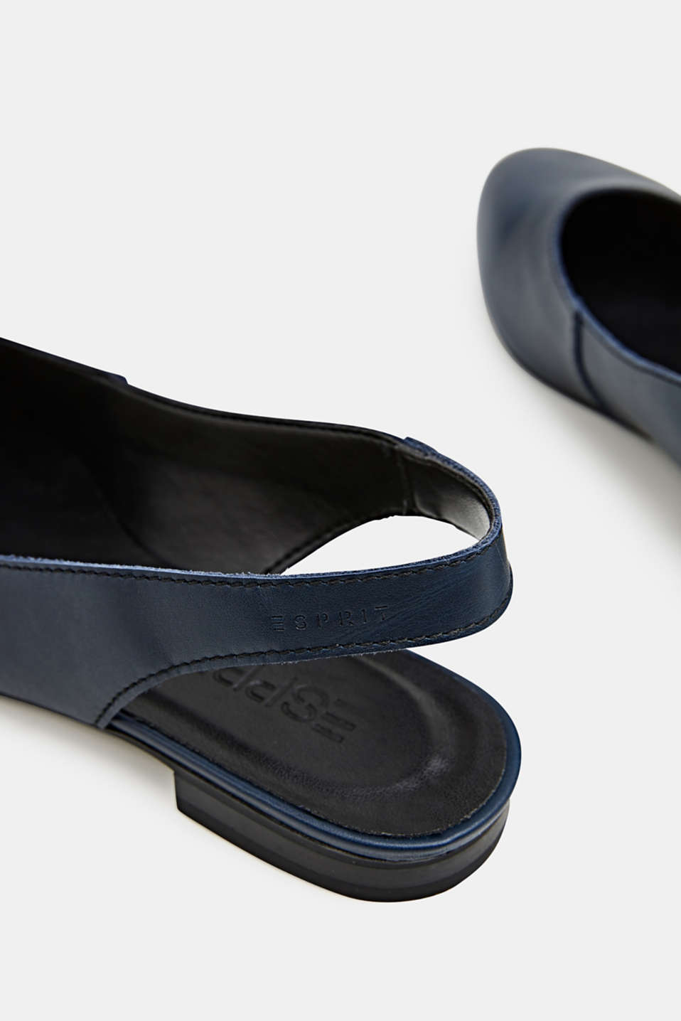 Leather sling back ballerinas, NAVY, detail image number 4