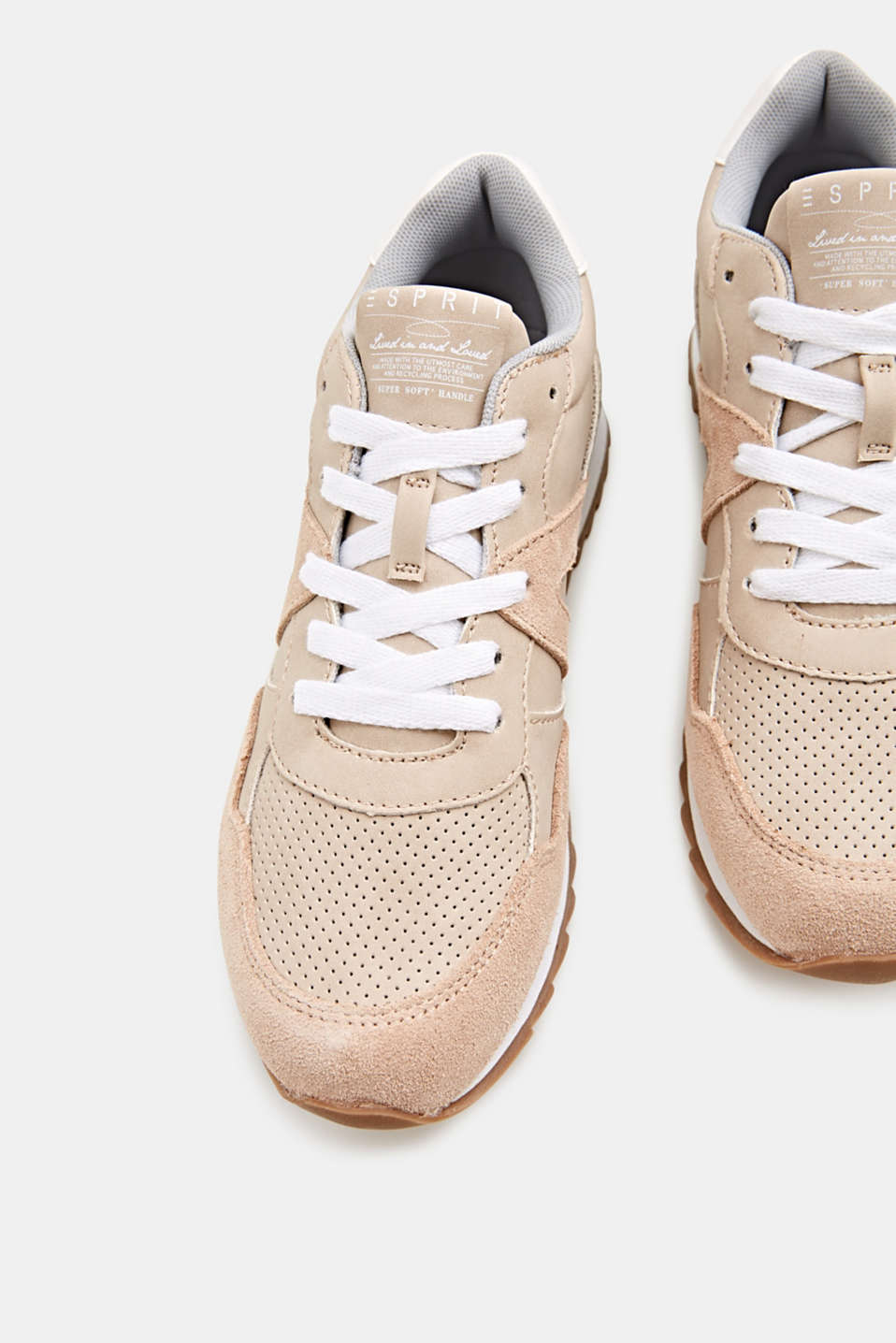 Mixed material trainers with open-work pattern, SKIN BEIGE, detail image number 1