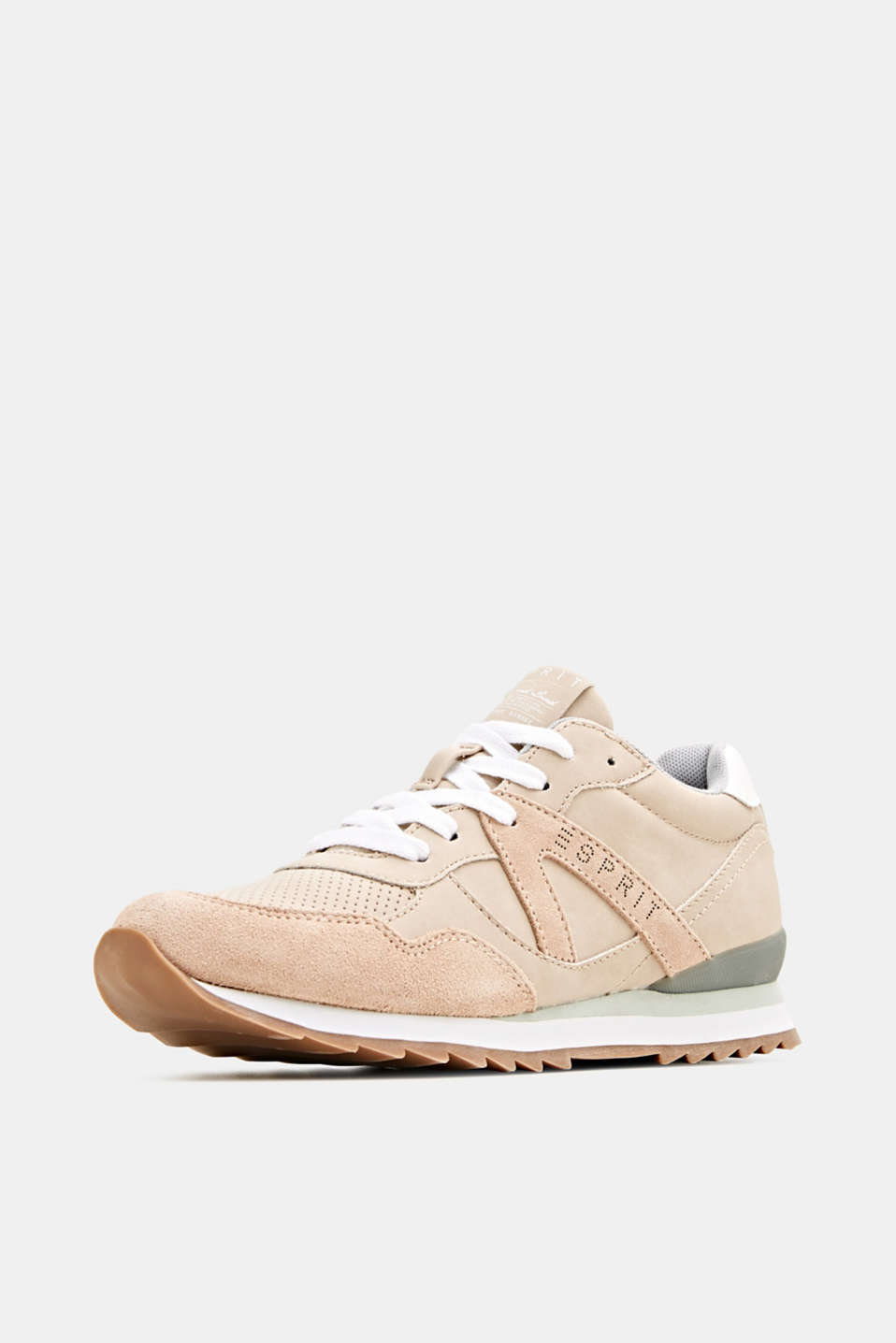 Mixed material trainers with open-work pattern, SKIN BEIGE, detail image number 2