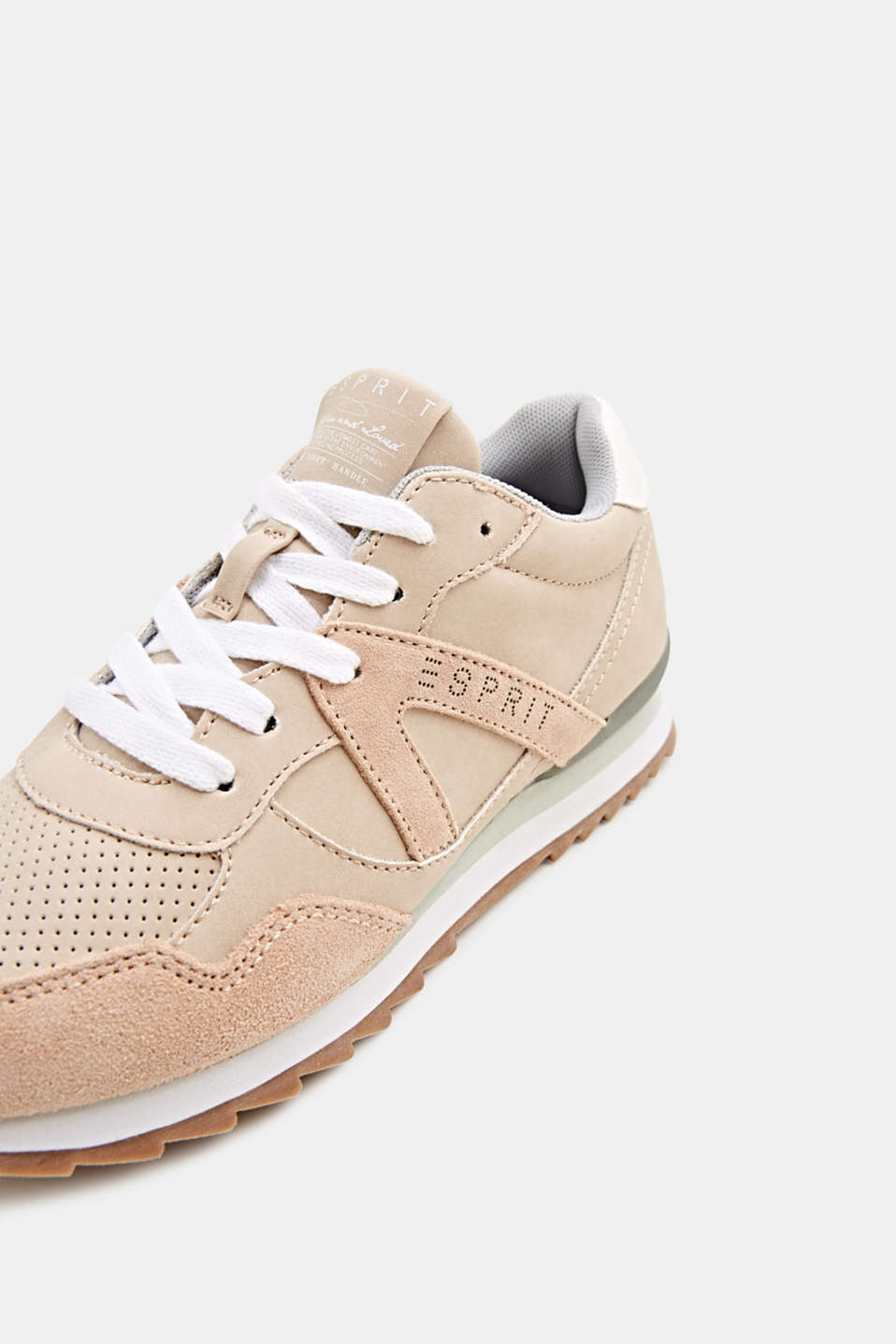 Mixed material trainers with open-work pattern, SKIN BEIGE, detail image number 4