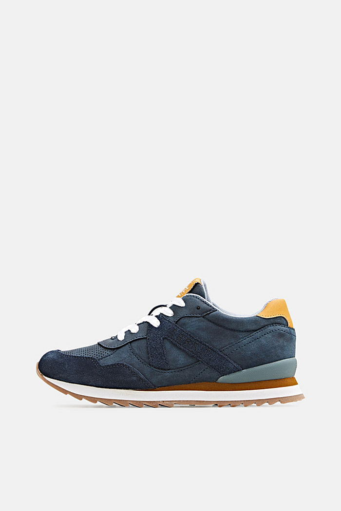 Material-Mix-Sneaker mit Lochmuster, NAVY, detail image number 0