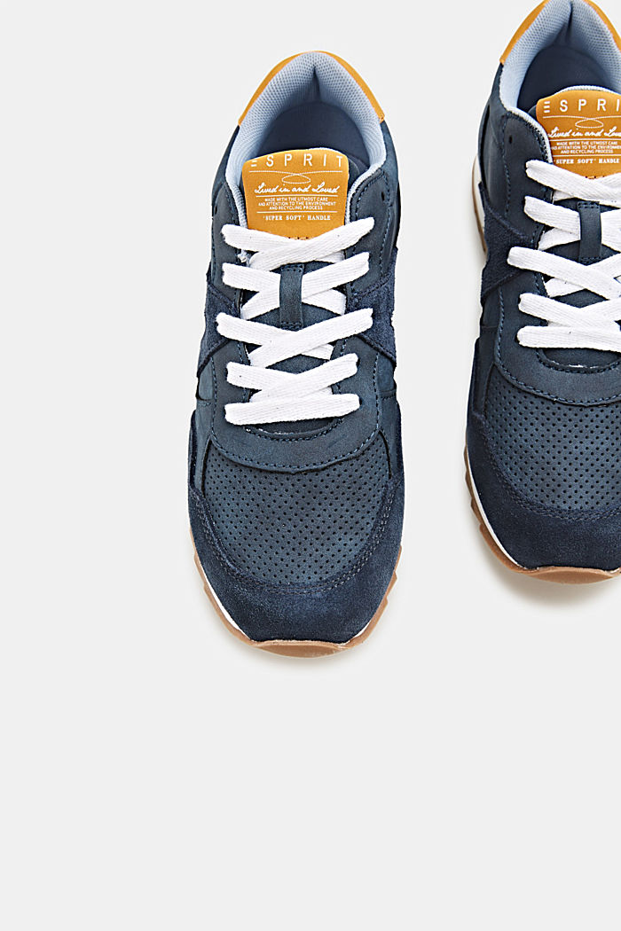 Mixed material trainers with open-work pattern, NAVY, detail image number 1