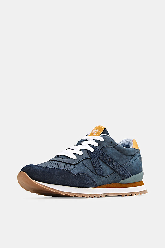 Mixed material trainers with open-work pattern, NAVY, detail image number 2