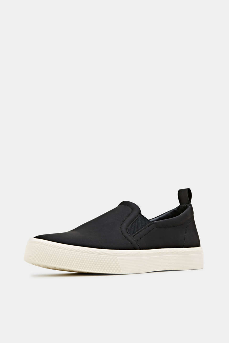 Faux smooth leather slip-ons, BLACK, detail image number 2