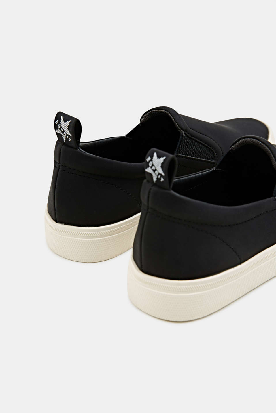 Faux smooth leather slip-ons, BLACK, detail image number 5