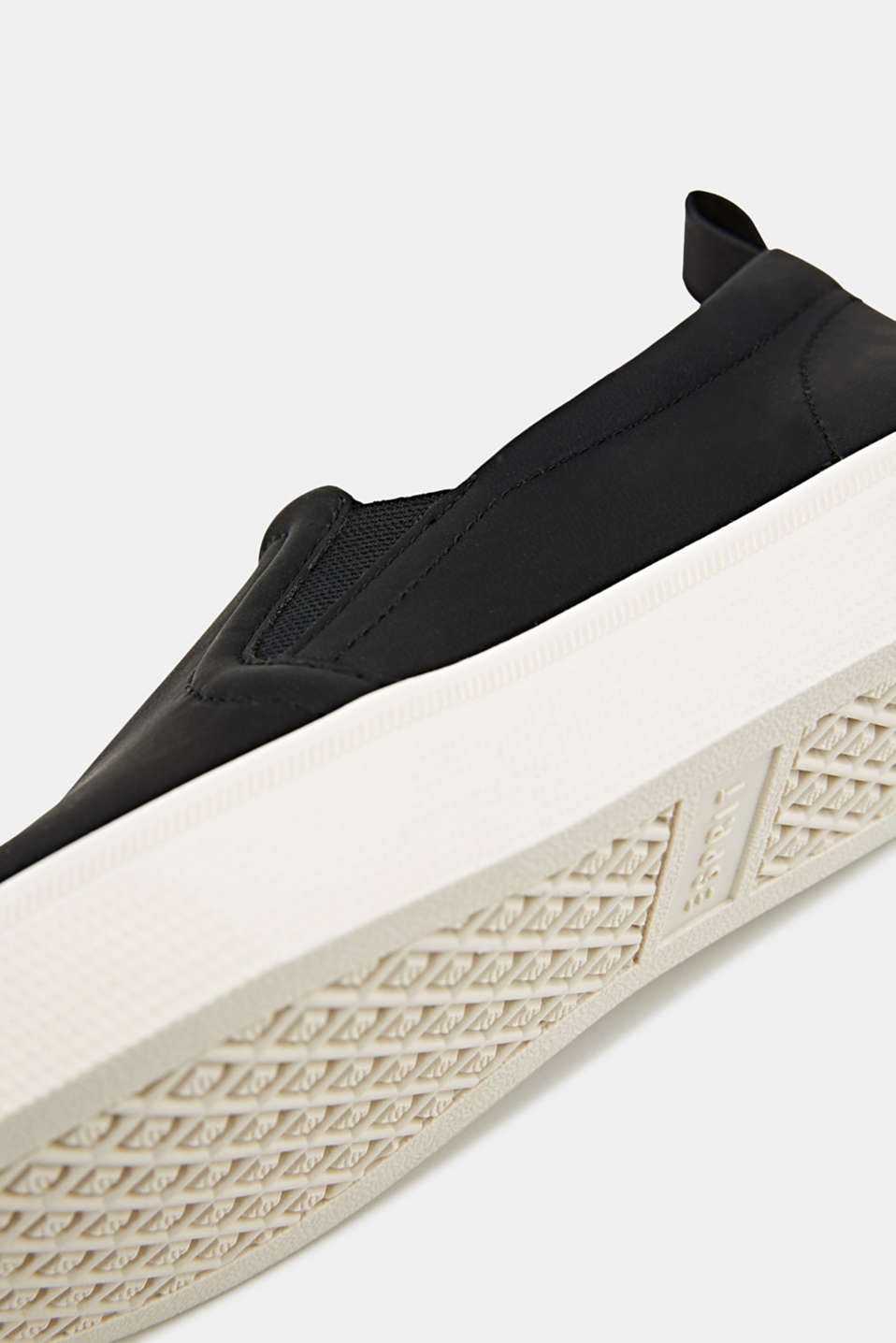 Faux smooth leather slip-ons, BLACK, detail image number 4