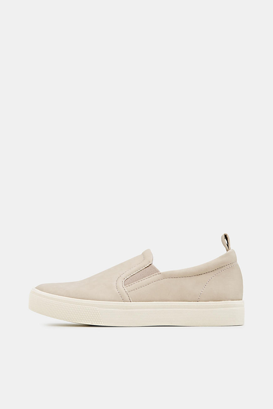 Faux smooth leather slip-ons