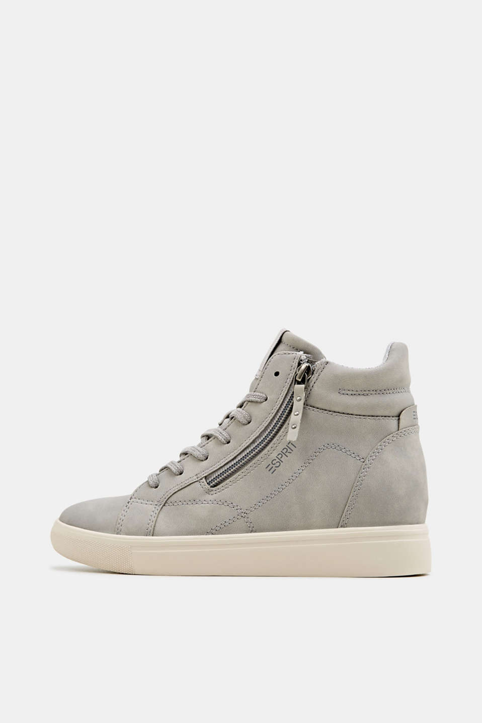 Wedge trainers in faux nubuck leather, LIGHT GREY, detail image number 0