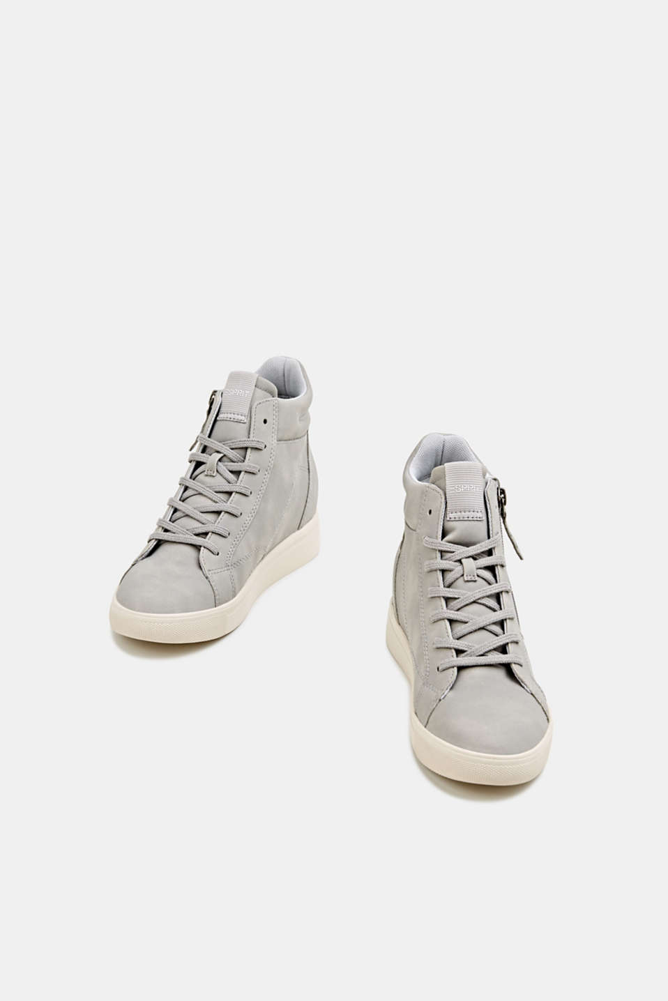 Wedge trainers in faux nubuck leather, LIGHT GREY, detail image number 1