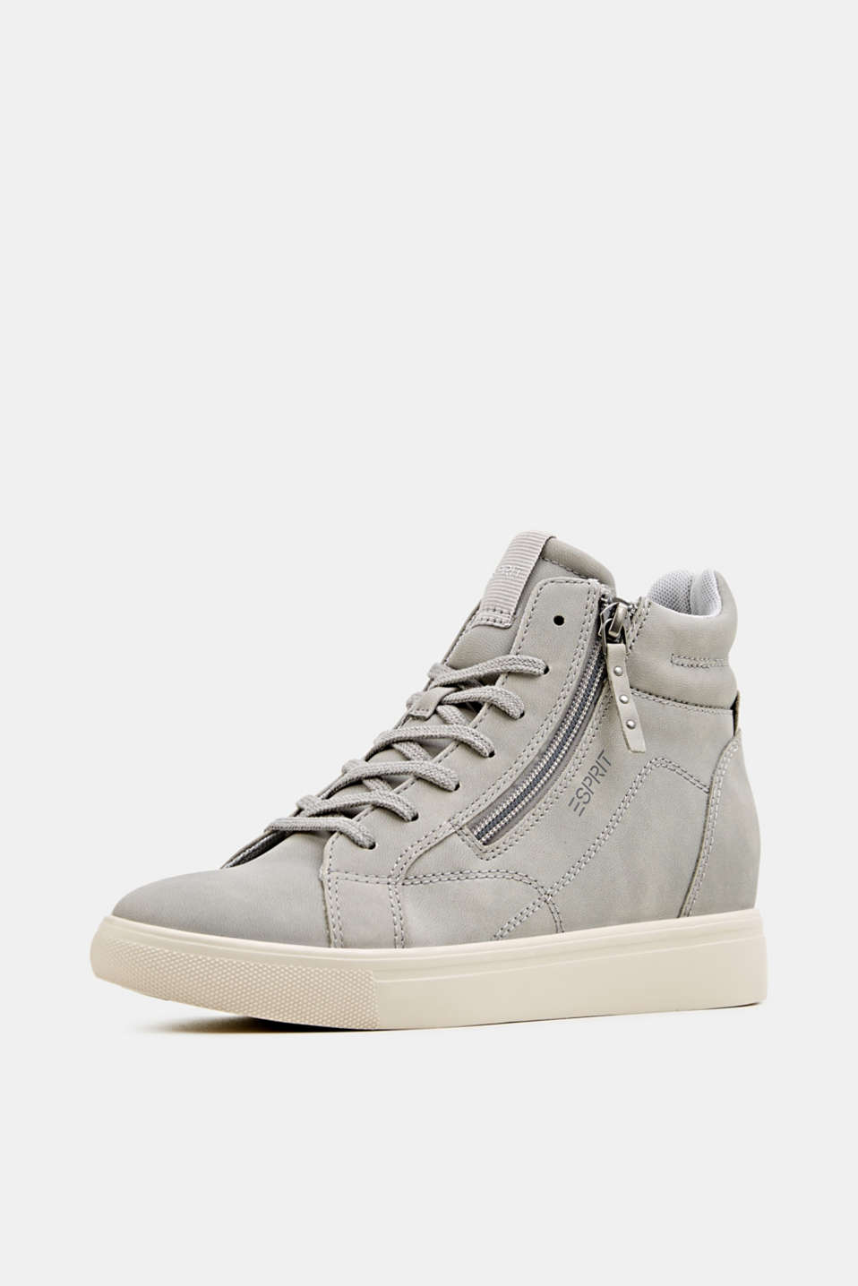 Wedge trainers in faux nubuck leather, LIGHT GREY, detail image number 2