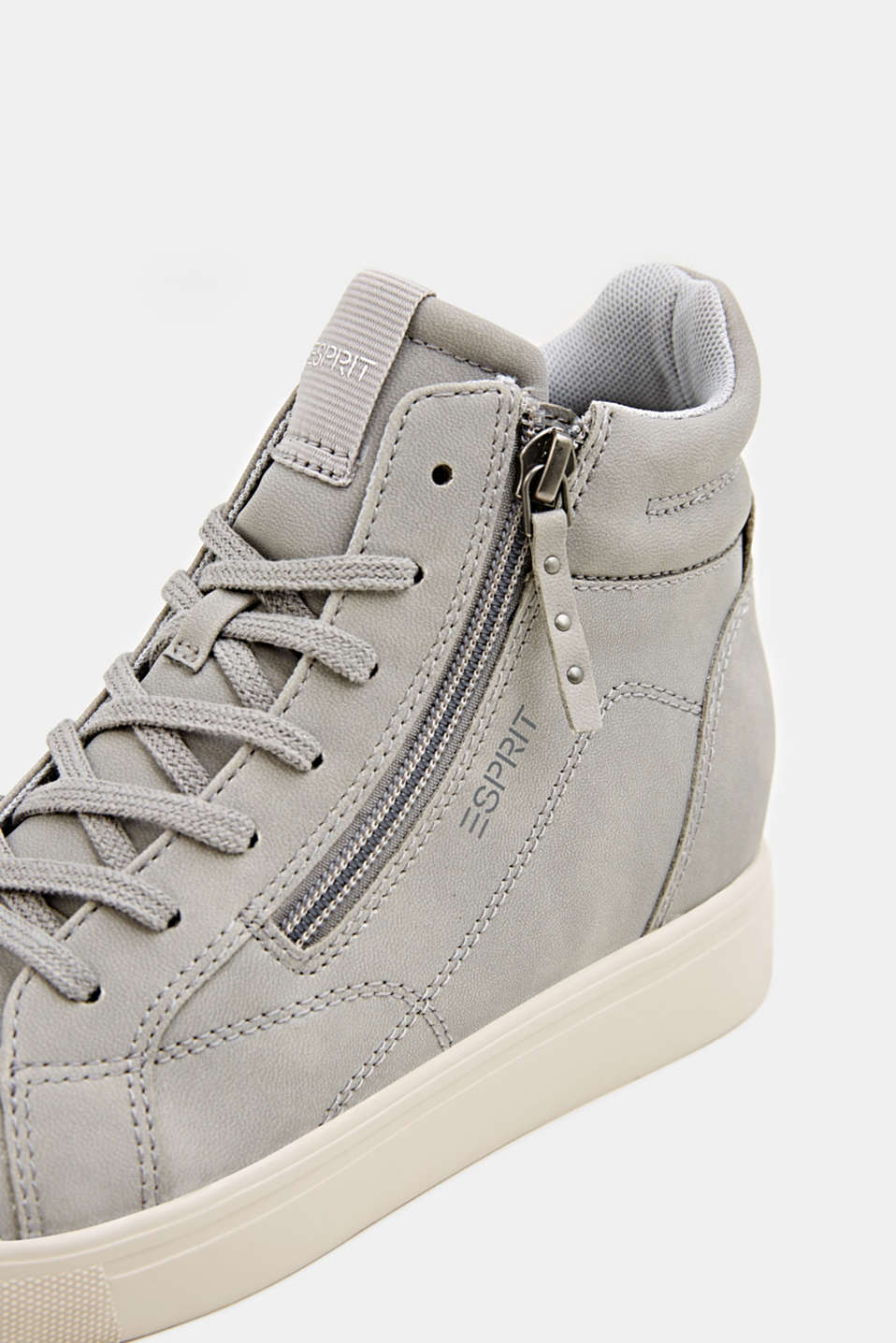 Wedge trainers in faux nubuck leather, LIGHT GREY, detail image number 4