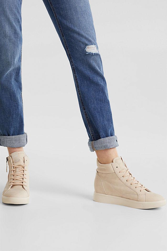 Sneakers van imitatienubuck met sleehak, SKIN BEIGE, detail image number 4
