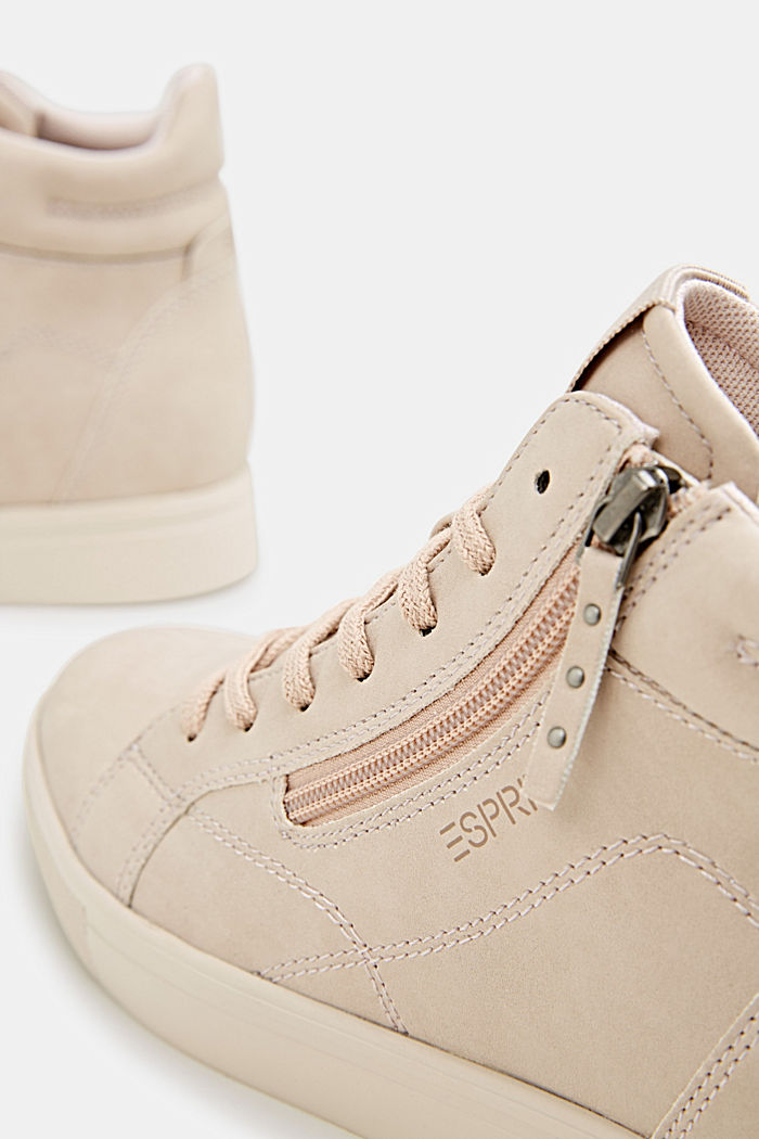 Sneakers van imitatienubuck met sleehak, SKIN BEIGE, detail image number 2