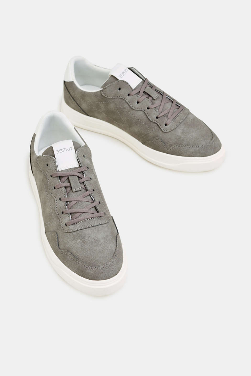Retro trainers in faux nubuck leather, MEDIUM GREY, detail image number 1