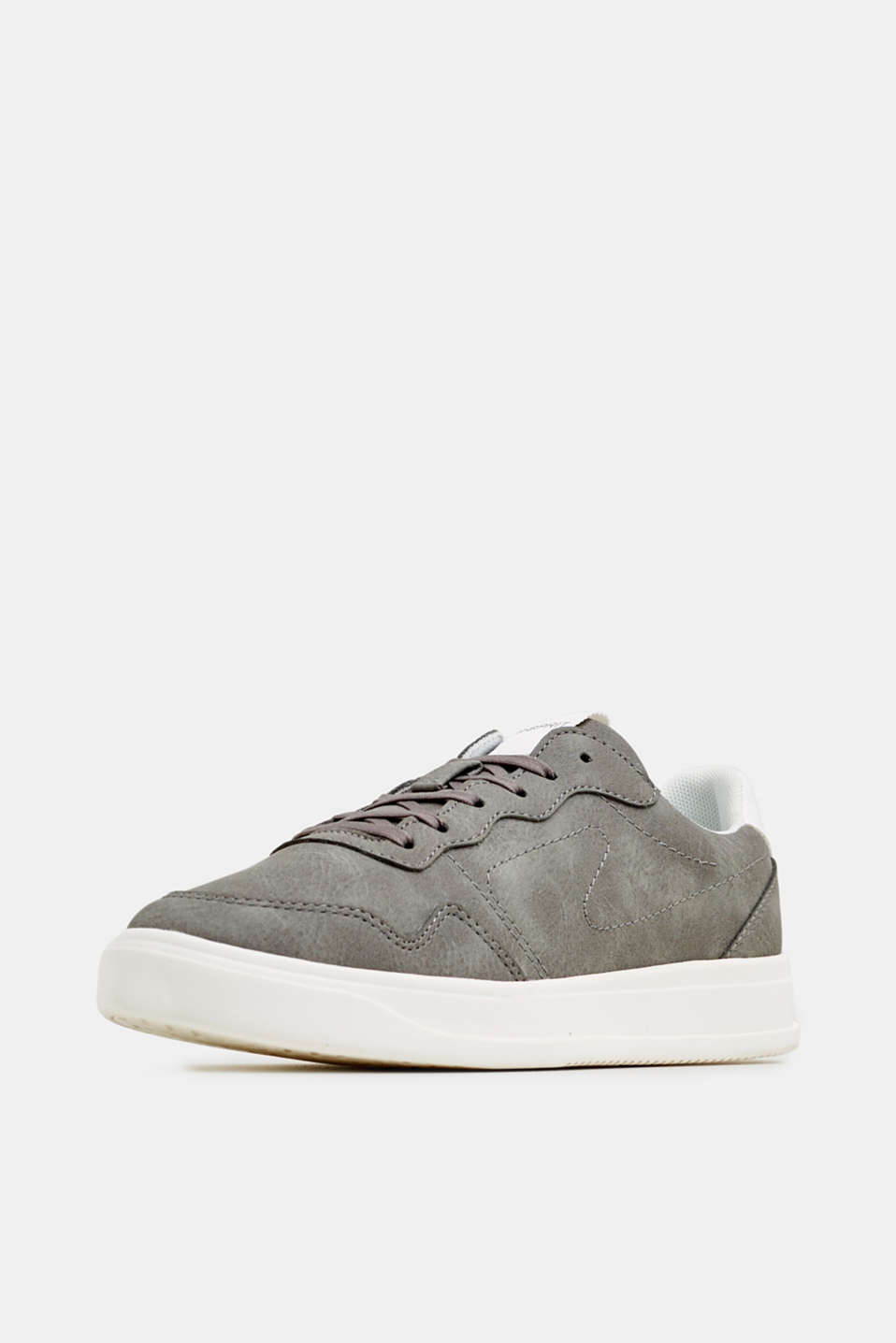 Retro trainers in faux nubuck leather, MEDIUM GREY, detail image number 2