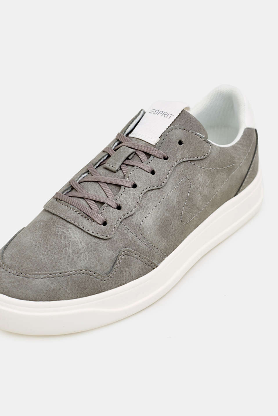 Retro trainers in faux nubuck leather, MEDIUM GREY, detail image number 4