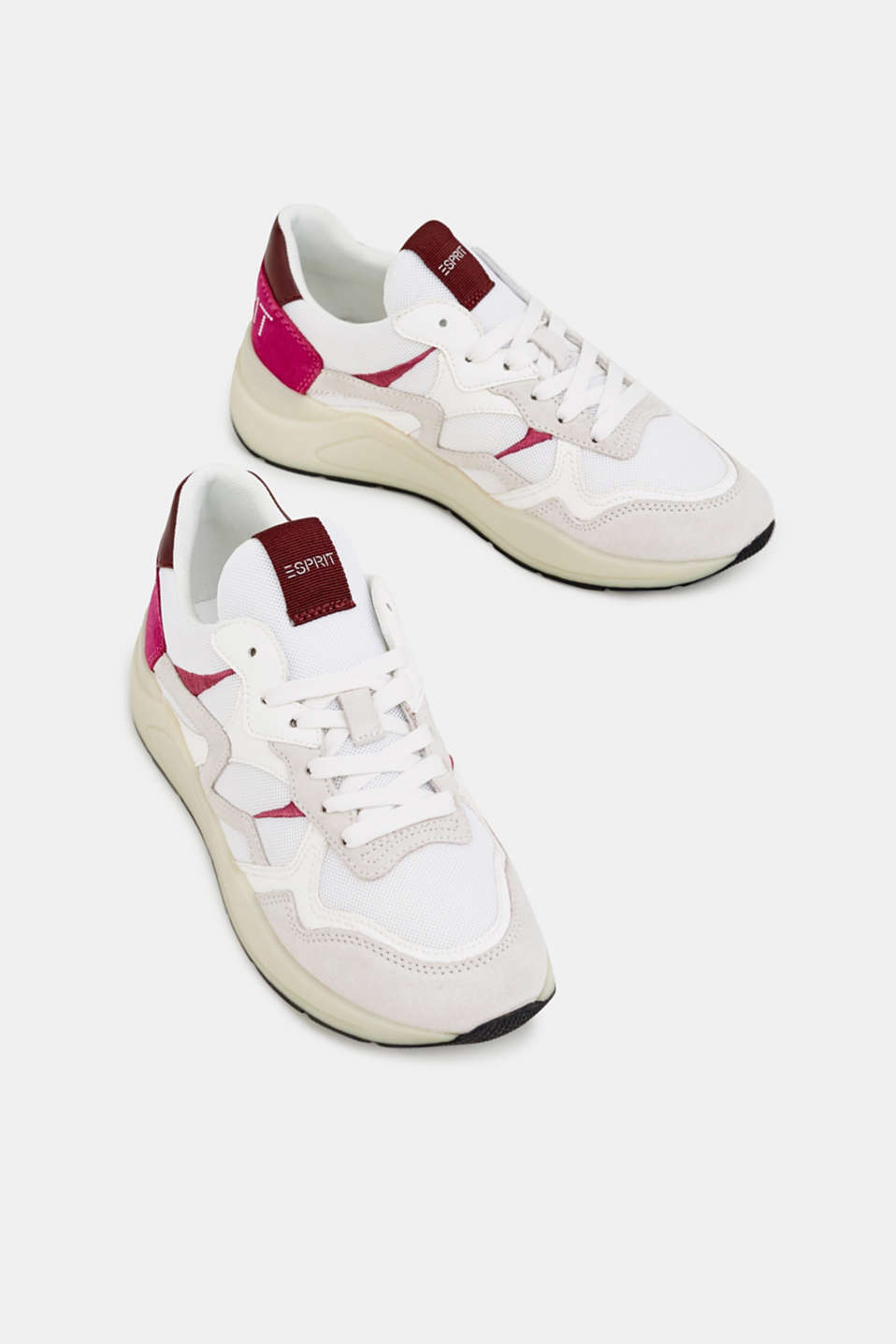 Trainers in a mix of materials, WHITE, detail image number 1