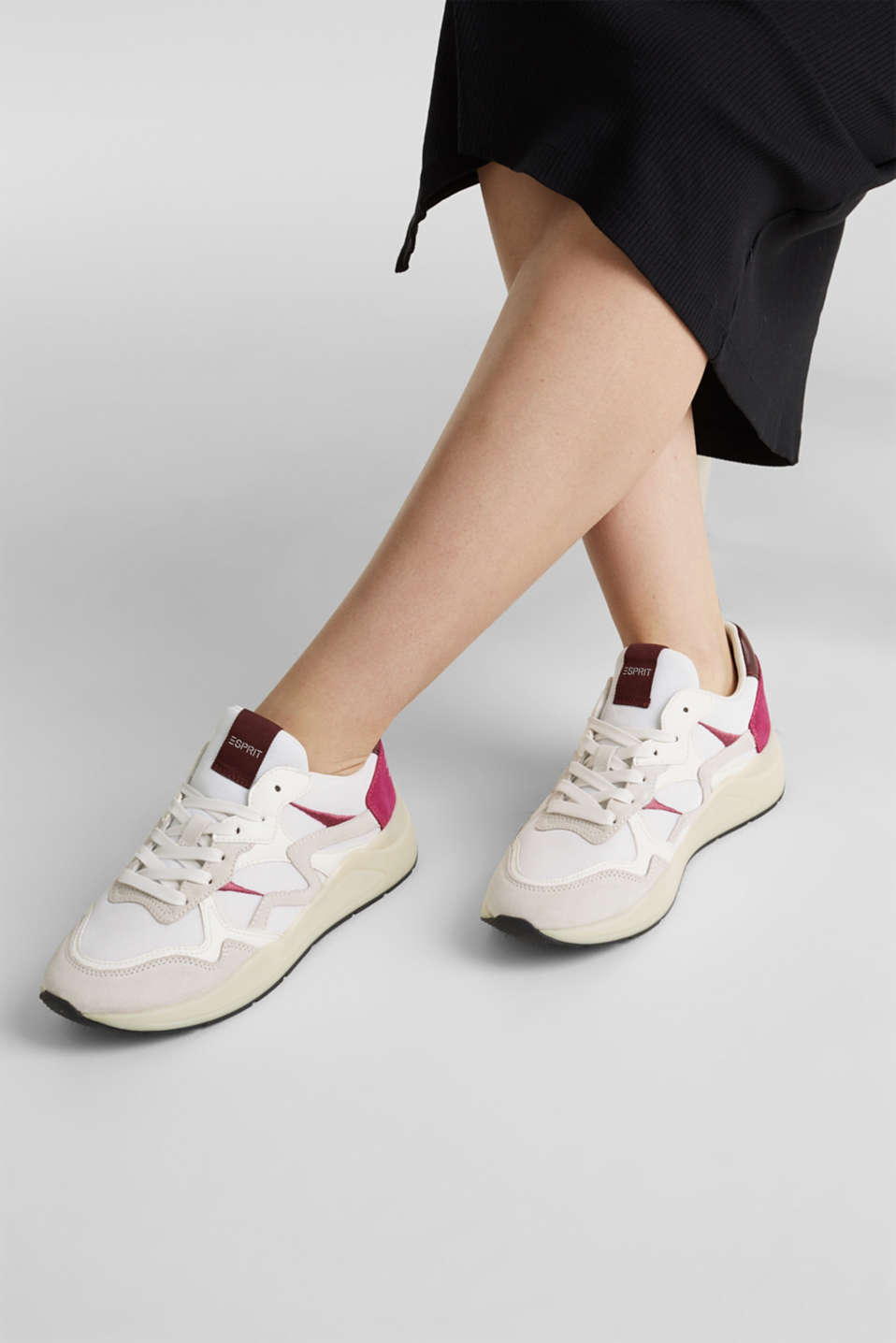 Trainers in a mix of materials, WHITE, detail image number 3