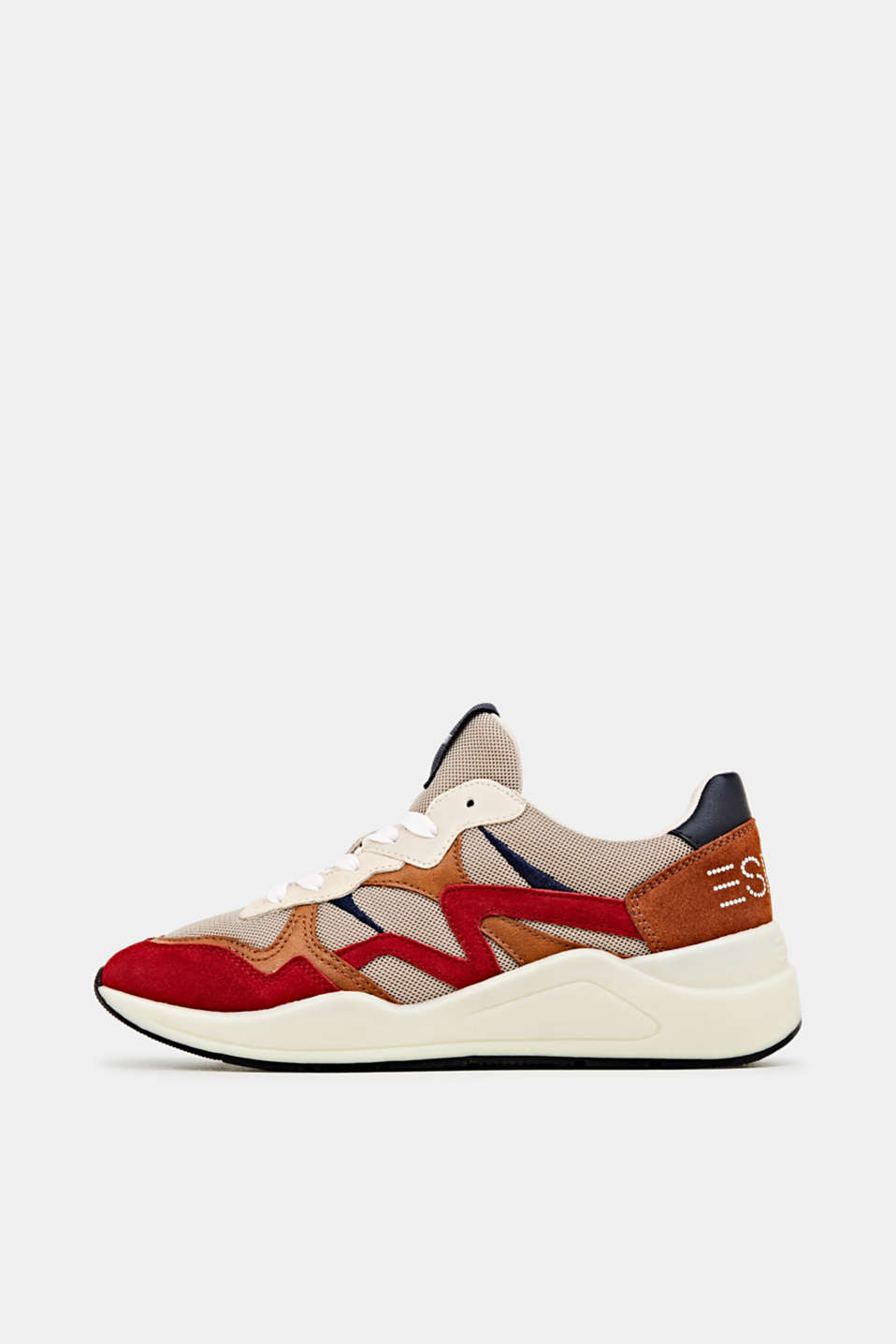 Trainers in a mix of materials, DARK RED, detail image number 0