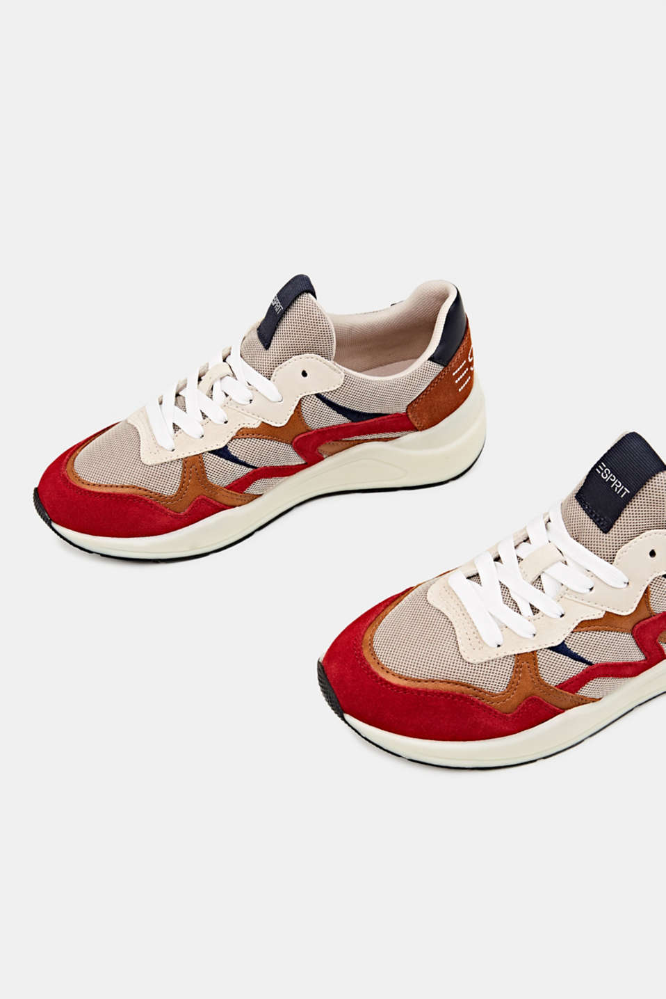 Trainers in a mix of materials, DARK RED, detail image number 1