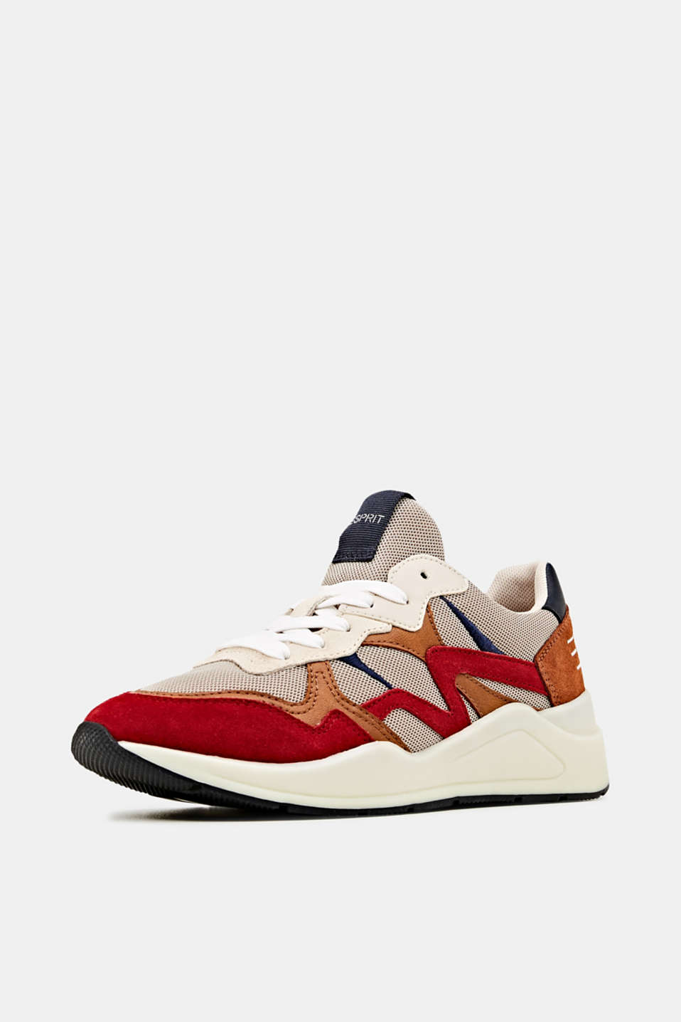 Trainers in a mix of materials, DARK RED, detail image number 2